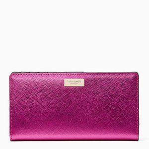 kate spade pink metallic laurel way stacy wallet